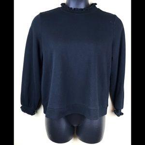 WHO WHAT WEAR Sweater Ruffle Crew Neck Cuffs Sz XL
